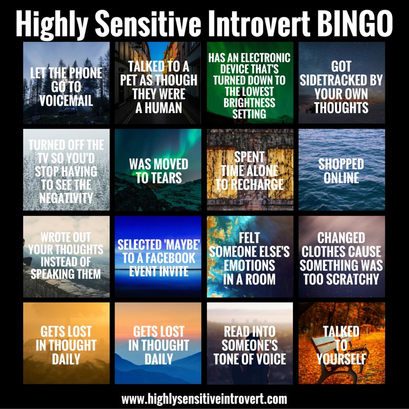 Highly Sensitive Introvert BINGO!